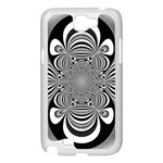 Black And White Ornamental Flower Samsung Galaxy Note 2 Case (White) Front