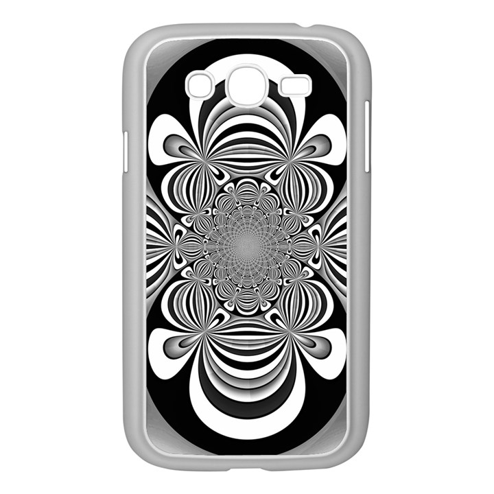 Black And White Ornamental Flower Samsung Galaxy Grand DUOS I9082 Case (White)