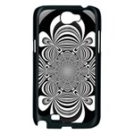Black And White Ornamental Flower Samsung Galaxy Note 2 Case (Black) Front