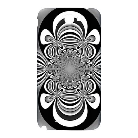Black And White Ornamental Flower Samsung Note 2 N7100 Hardshell Back Case