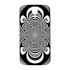 Black And White Ornamental Flower Samsung Galaxy S4 I9500/I9505  Hardshell Back Case