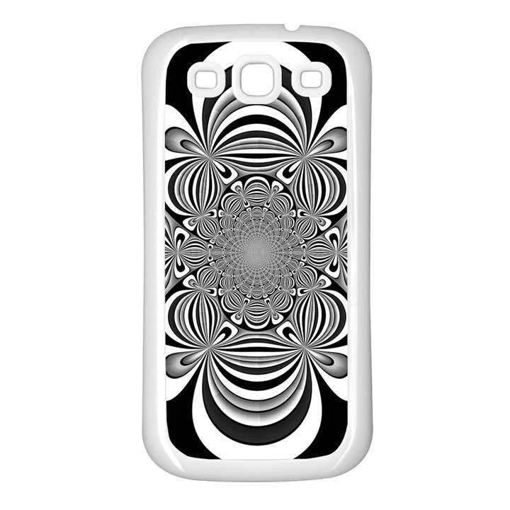 Black And White Ornamental Flower Samsung Galaxy S3 Back Case (White)