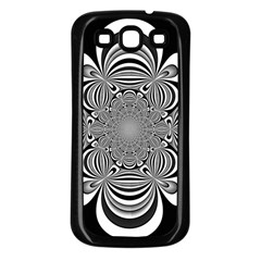 Black And White Ornamental Flower Samsung Galaxy S3 Back Case (Black)
