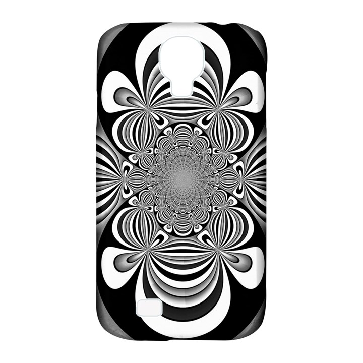 Black And White Ornamental Flower Samsung Galaxy S4 Classic Hardshell Case (PC+Silicone)