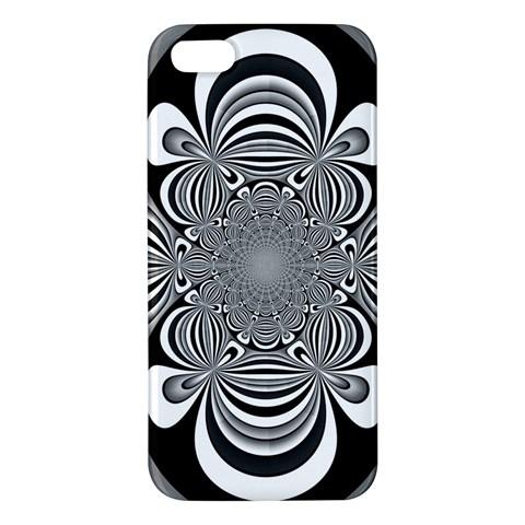 Black And White Ornamental Flower iPhone 5S/ SE Premium Hardshell Case