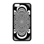 Black And White Ornamental Flower Apple iPhone 5C Seamless Case (Black) Front