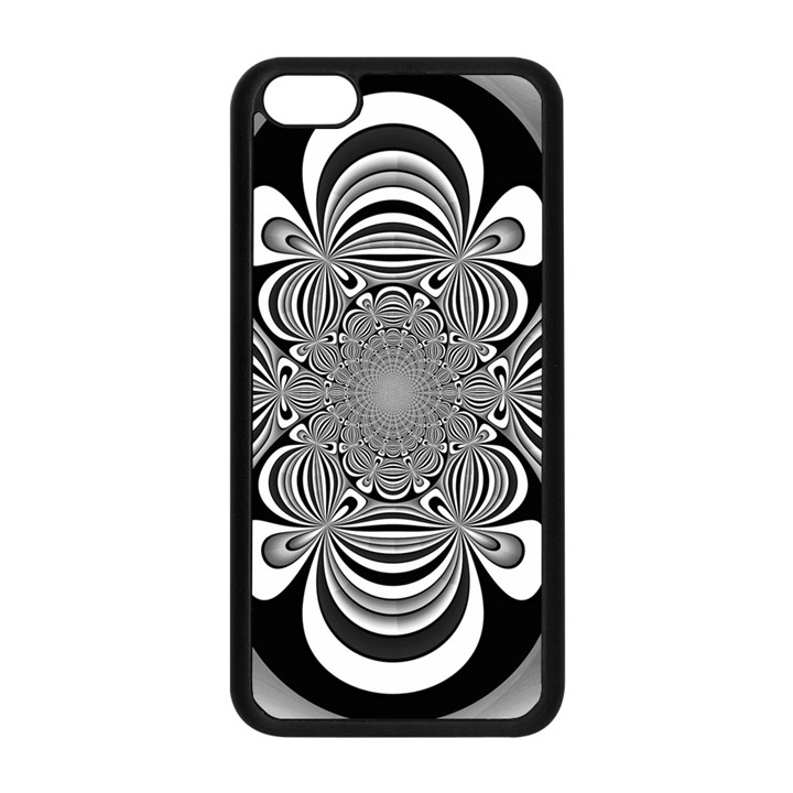 Black And White Ornamental Flower Apple iPhone 5C Seamless Case (Black)