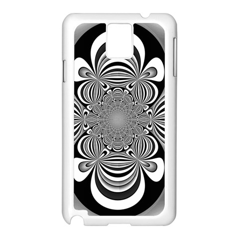 Black And White Ornamental Flower Samsung Galaxy Note 3 N9005 Case (White)