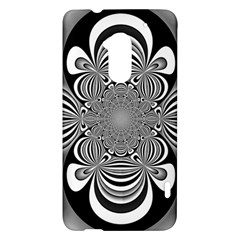 Black And White Ornamental Flower HTC One Max (T6) Hardshell Case