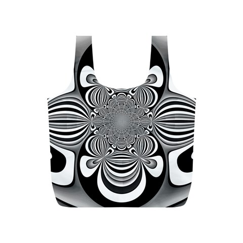 Black And White Ornamental Flower Full Print Recycle Bags (S)