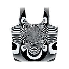 Black And White Ornamental Flower Full Print Recycle Bags (m)