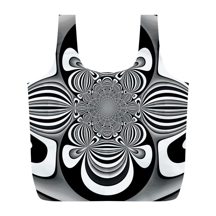 Black And White Ornamental Flower Full Print Recycle Bags (L)