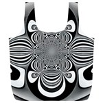 Black And White Ornamental Flower Full Print Recycle Bags (L)  Back