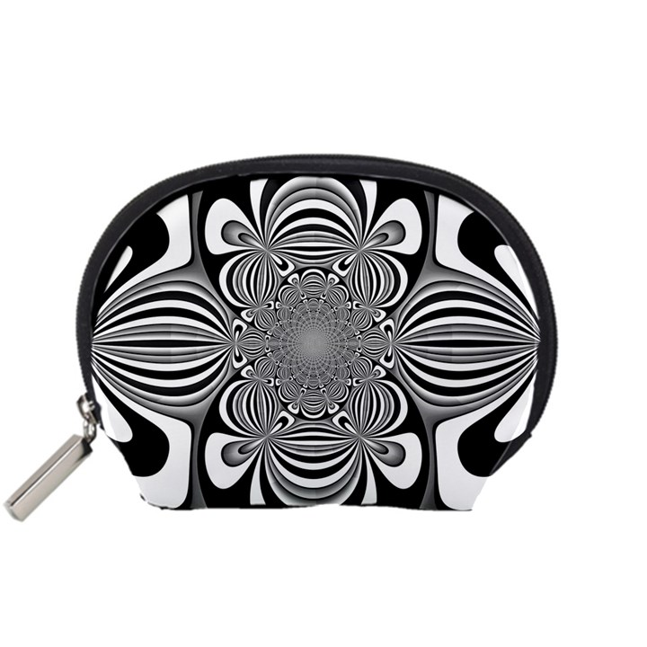 Black And White Ornamental Flower Accessory Pouches (Small)