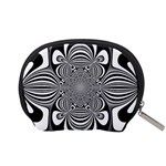 Black And White Ornamental Flower Accessory Pouches (Small)  Back