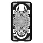 Black And White Ornamental Flower Samsung Galaxy S5 Case (Black) Front