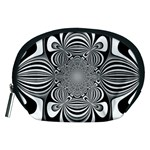 Black And White Ornamental Flower Accessory Pouches (Medium)  Front