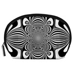 Black And White Ornamental Flower Accessory Pouches (Large)  Front