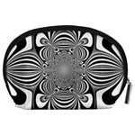 Black And White Ornamental Flower Accessory Pouches (Large)  Back