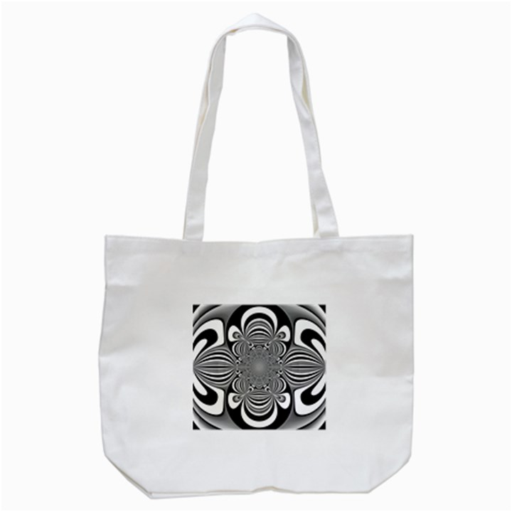 Black And White Ornamental Flower Tote Bag (White)