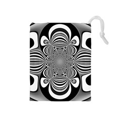 Black And White Ornamental Flower Drawstring Pouches (Medium)