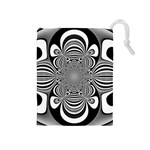 Black And White Ornamental Flower Drawstring Pouches (Medium)  Front