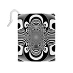 Black And White Ornamental Flower Drawstring Pouches (Medium)  Back