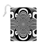 Black And White Ornamental Flower Drawstring Pouches (Large)  Back