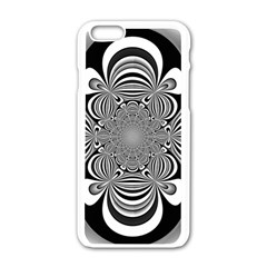 Black And White Ornamental Flower Apple iPhone 6/6S White Enamel Case