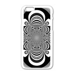 Black And White Ornamental Flower Apple iPhone 6/6S White Enamel Case Front