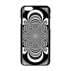 Black And White Ornamental Flower Apple Iphone 6/6s Black Enamel Case