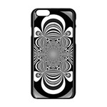 Black And White Ornamental Flower Apple iPhone 6/6S Black Enamel Case Front