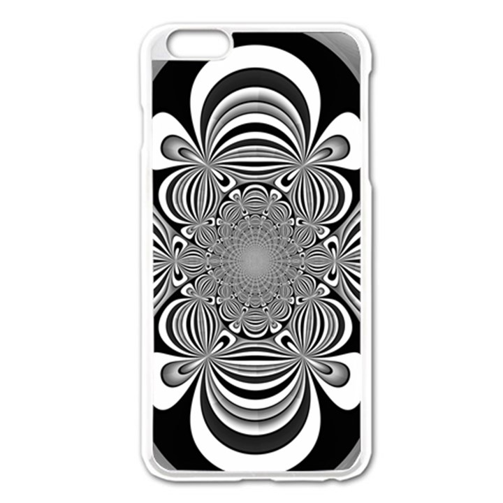 Black And White Ornamental Flower Apple iPhone 6 Plus/6S Plus Enamel White Case