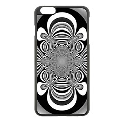 Black And White Ornamental Flower Apple iPhone 6 Plus/6S Plus Black Enamel Case