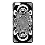 Black And White Ornamental Flower Apple iPhone 6 Plus/6S Plus Black Enamel Case Front