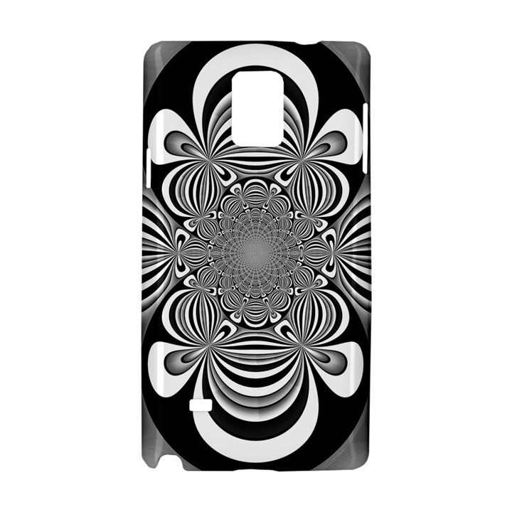 Black And White Ornamental Flower Samsung Galaxy Note 4 Hardshell Case