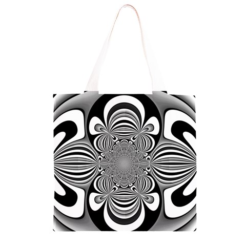 Black And White Ornamental Flower Grocery Light Tote Bag