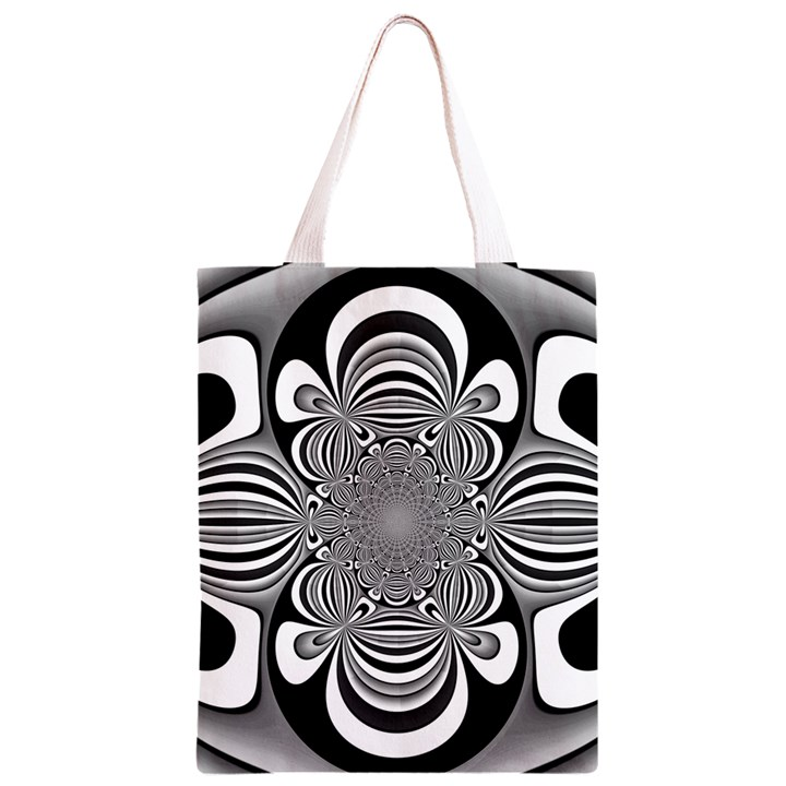 Black And White Ornamental Flower Classic Light Tote Bag