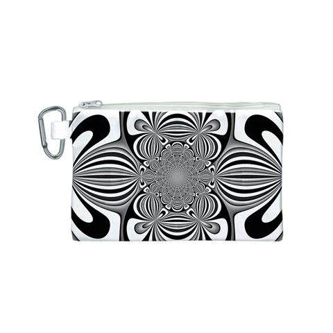 Black And White Ornamental Flower Canvas Cosmetic Bag (S)