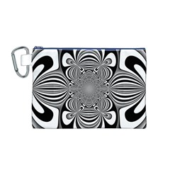 Black And White Ornamental Flower Canvas Cosmetic Bag (M)