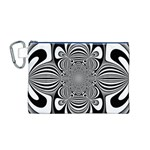 Black And White Ornamental Flower Canvas Cosmetic Bag (M) Front