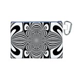 Black And White Ornamental Flower Canvas Cosmetic Bag (M) Back