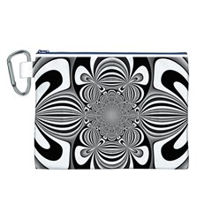 Black And White Ornamental Flower Canvas Cosmetic Bag (l)