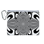 Black And White Ornamental Flower Canvas Cosmetic Bag (L) Front