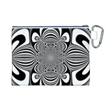 Black And White Ornamental Flower Canvas Cosmetic Bag (L) Back