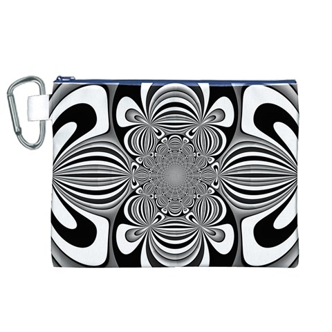 Black And White Ornamental Flower Canvas Cosmetic Bag (XL)