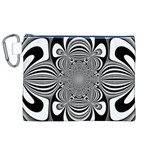 Black And White Ornamental Flower Canvas Cosmetic Bag (XL) Front
