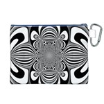 Black And White Ornamental Flower Canvas Cosmetic Bag (XL) Back