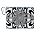 Black And White Ornamental Flower Canvas Cosmetic Bag (XXL) Front