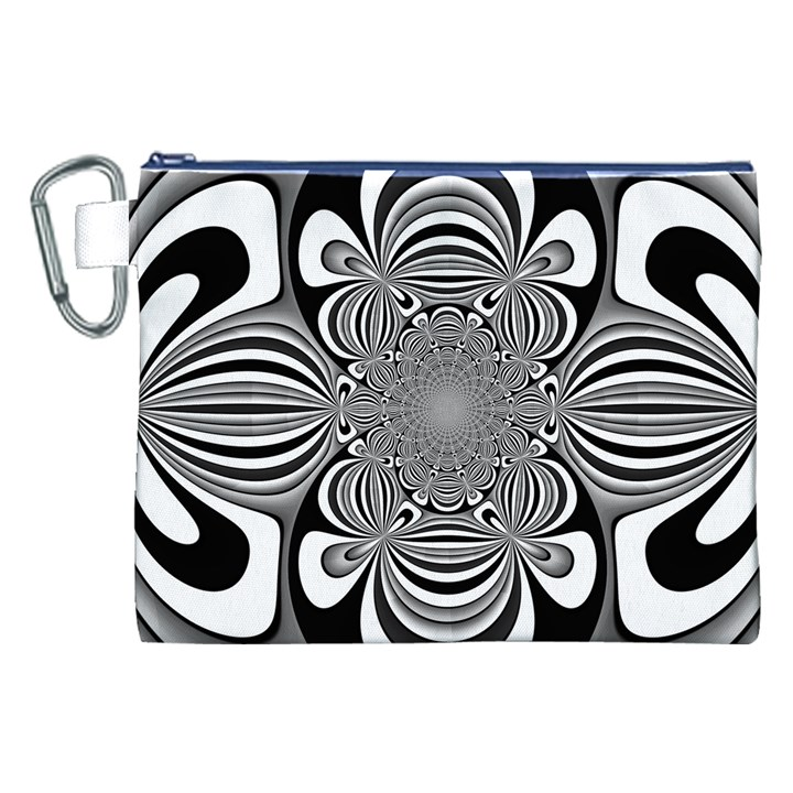 Black And White Ornamental Flower Canvas Cosmetic Bag (XXL)
